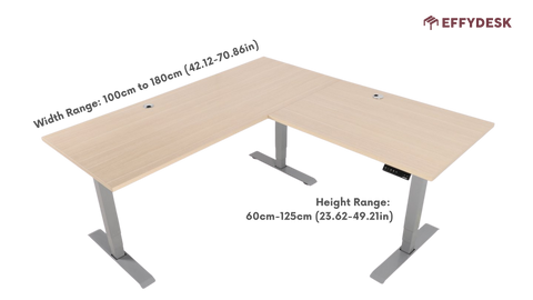 A l shaped standing desk size chart