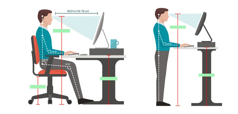Siting and Standing Sit-Stand Desk Infographic tell you the ideal height for standing desk