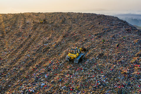 Landfill with waste of garbage