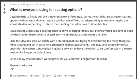 People are looking for seating option on reddit