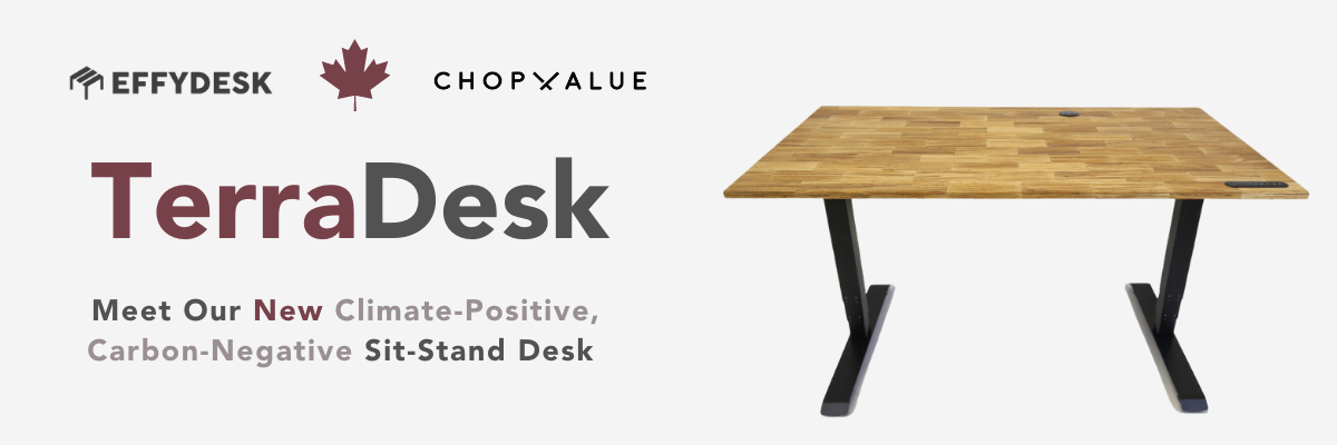 TerraDesk (Eco-Friendly Height Adjustable Electric Sit-Stand Desk) - Standing Desks Canada - Sustainable Office Furniture - ChopValue x EFFYDESK