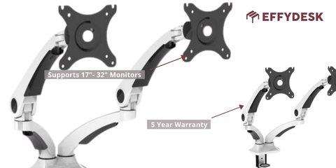EFFYDESK Dual Monitor Mount 5 Year Warranty 30 Day Free Trial 17''-32'' inch Monitors (Vancouver, B.C)
