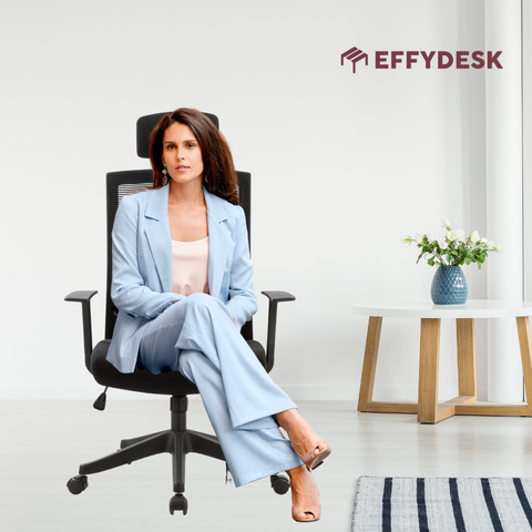 Successful business woman is sitting on karma chair