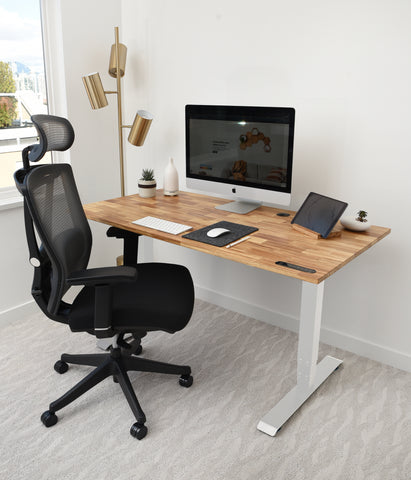 A home office with eco friendly standing desk with Ergonomic chair