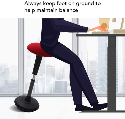 When you sit on wobble stool your feet can help you keep balance