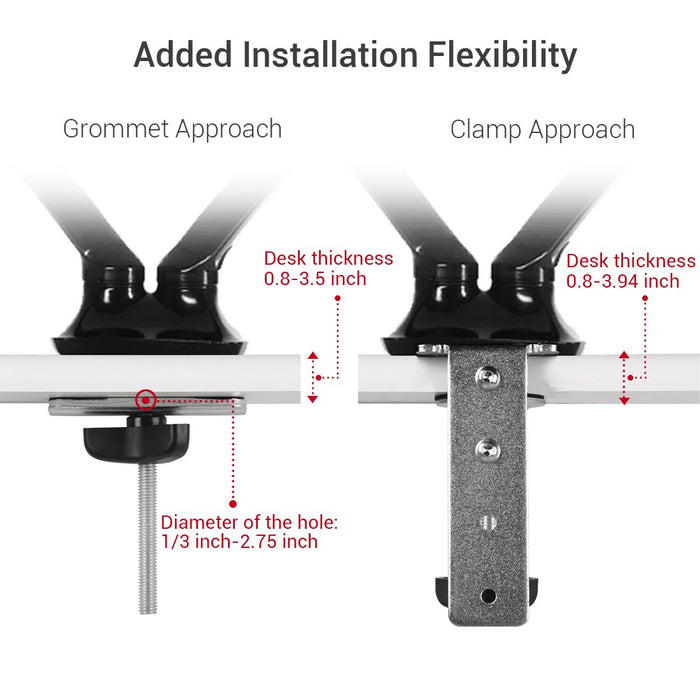 "Adjustable Dual-Monitor Gas Spring Office Desk Mount (Supports 17""-27"" Monitors) - EFFYDESK"
