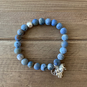 Sunset Dumortierite with Sterling Silver Guru bead (choice of 3 mini charms)