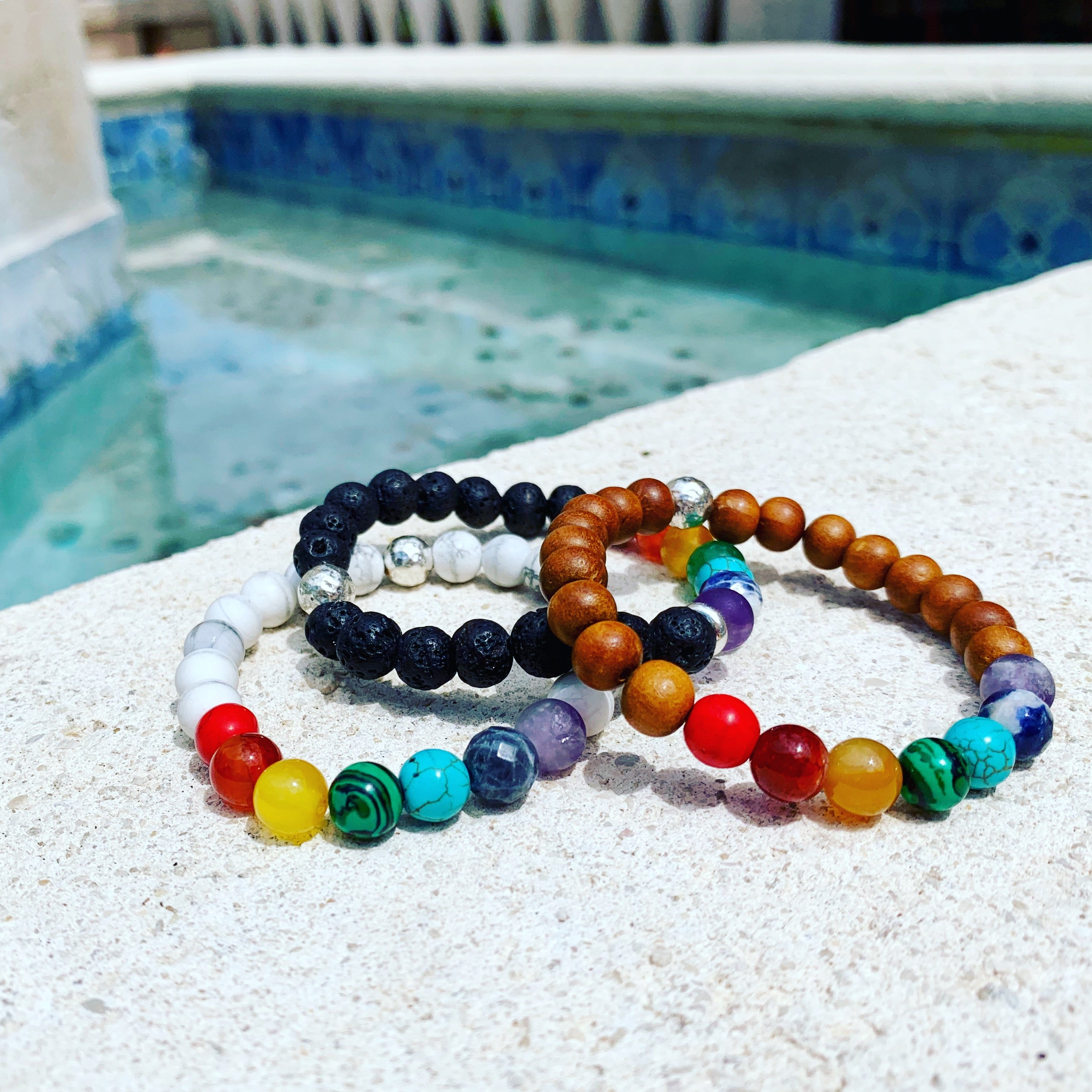 Love, Pride & Unity Chakra Bracelet with Semiprecious Stones and Sterling Silver