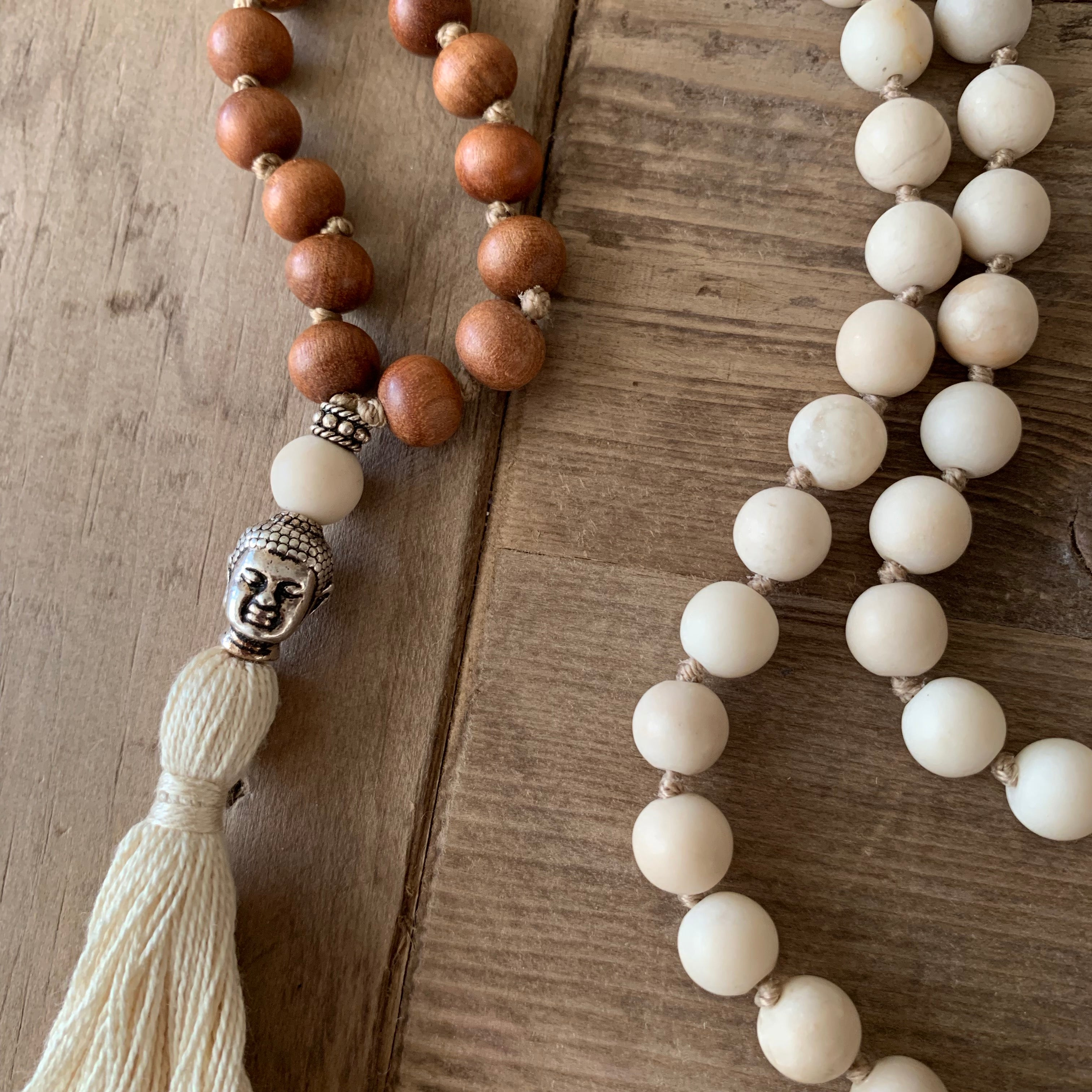Sunstone and Sandalwood 108 Bead Mala with Buddha Head Guru Bead