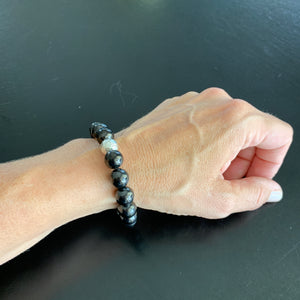 Shungite Bracelet with Sterling Silver Guru Bead