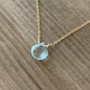 Aquamarine Drop on Chain