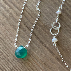 Green Onyx Heart Drop on Chain