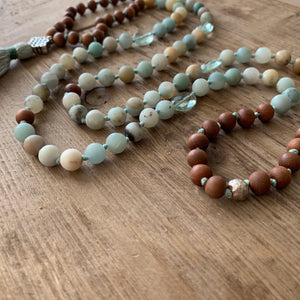 Amazonite and Blue Topaz with Sandalwood 108 Bead Mala with Sterling Silver Knot Guru Bead