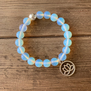 Moonstone with Sterling Silver Guru Bead and Choice of Charm