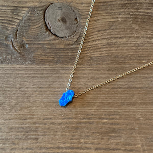 Tiny Hamsa Necklace in Royal Blue