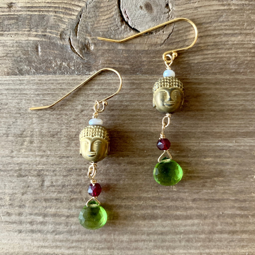 Carved Hematite and Peridot Briolette Earrings with Garnet and Freshwater Pearl