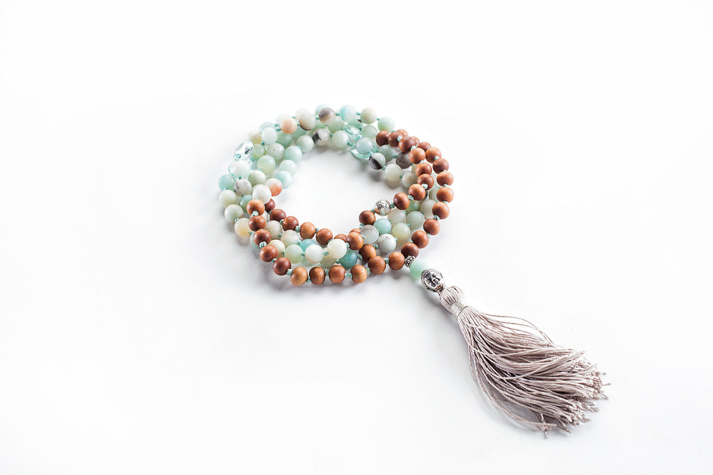 Amazonite and Blue Topaz with Sandalwood 108 Bead Mala