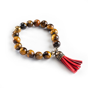 Eye of the Tiger - Tiger's Eye with Golden Druzzi and Tassel