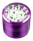 Purple 4-Piece Medium Diamond Teeth Clear Top Aluminum Grinder