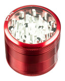 Red 4-Piece Medium Diamond Teeth Clear Top Aluminum Grinder