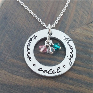 Personalized Necklace with Kids Names and Birthstones - themomandkidsshop
