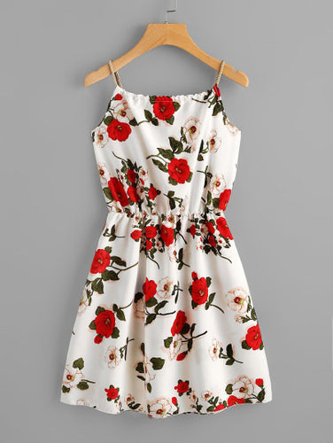 Floral Print Random Self Tie Cami Dress - themomandkidsshop