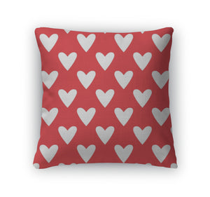 Throw Pillow, Tile Cute Pattern With White Hearts On Red - themomandkidsshop
