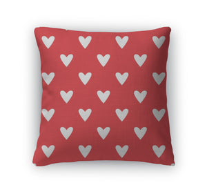 Throw Pillow, Tile Pattern With White Hearts On Red - themomandkidsshop