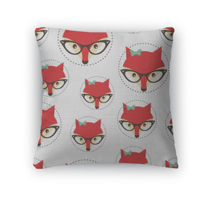 Throw Pillow, Hipster Pattern With Red Lady Fox - themomandkidsshop