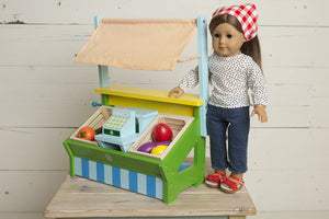 WOODEN DOLL FARMER'S MARKET - Grocery Stand - themomandkidsshop