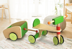 WOODEN SCOOTER - with Trailer - themomandkidsshop