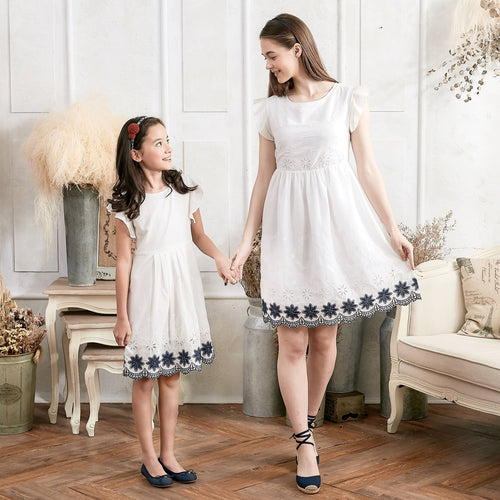 (Set of 2) Floral Embroidered Fit & Flare Dress - themomandkidsshop