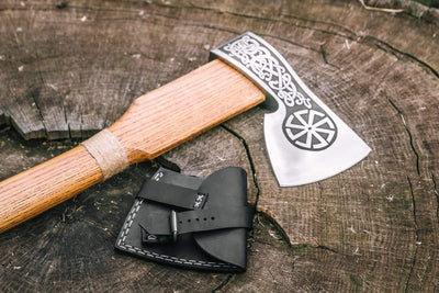 Ageless Leifr axe in a leather case