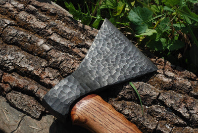 Hand forged Viking axe, carbon steel axe with a wooden box, handcrafted LARP axe, camping hunting fishing woodwork hatchet, father groomsman best man gift