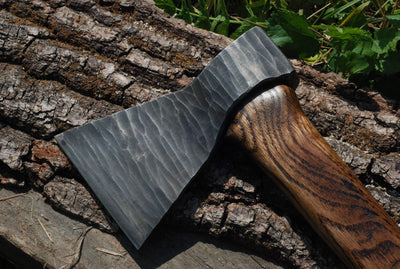 Hand forged Nordic Viking axe with a wooden box