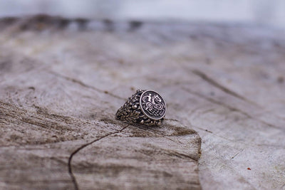 Sleipnir with Oak Leaves and Acorns Sterling Silver Viking Ring