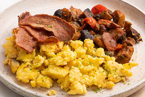 <p>Parsley Potato with Turkey Bacon Scramble</p>