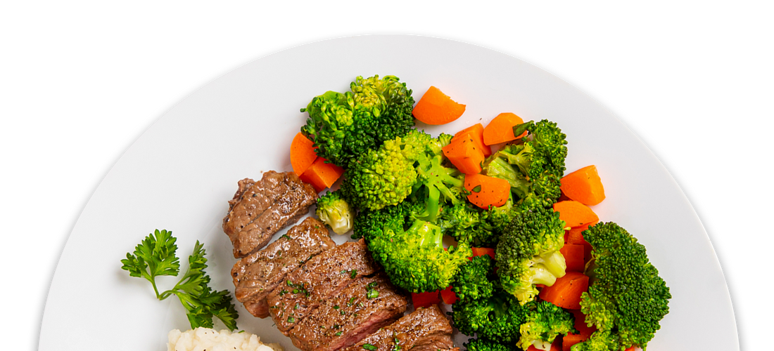 Grilled Steak with Mashed Potatoes, Carrots & Broccoli