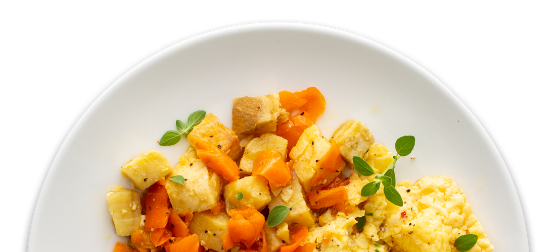Scrambled Eggs with Sweet Potato & Bell Pepper