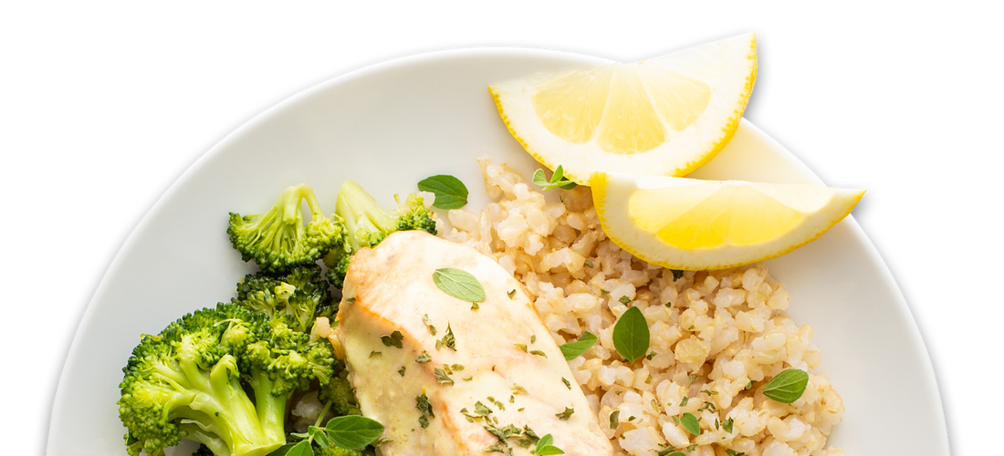 Sweet & Tangy Salmon with Broccoli and Rice