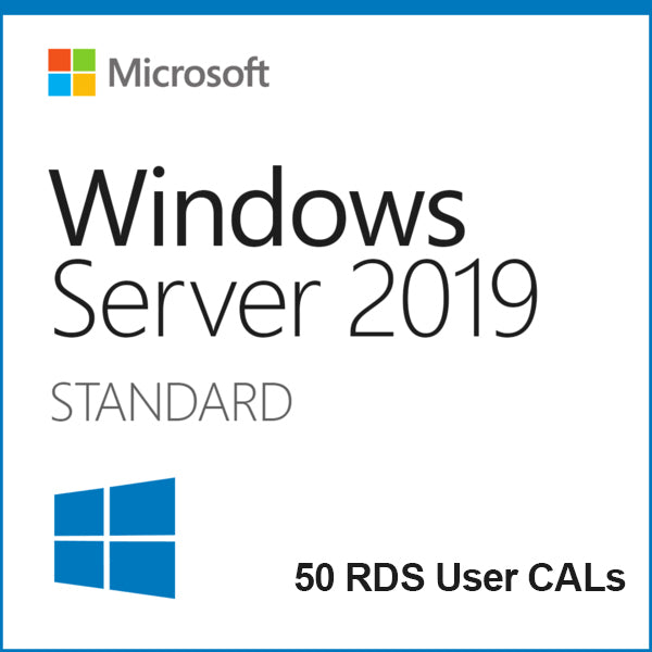 Windows Server 2019 Standard + 50 RDS User CALs Instant Delivery - Soft Deal USA