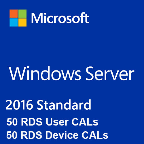 Windows Server 2016 Standard + 50 RDS User Cal + 50 RDS Device Cal - Soft Deal USA