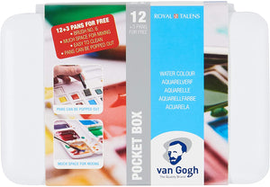 Van Gogh Aquarell Watercolor Pocket Box, 15 halbe Näpfchen & Pinsel