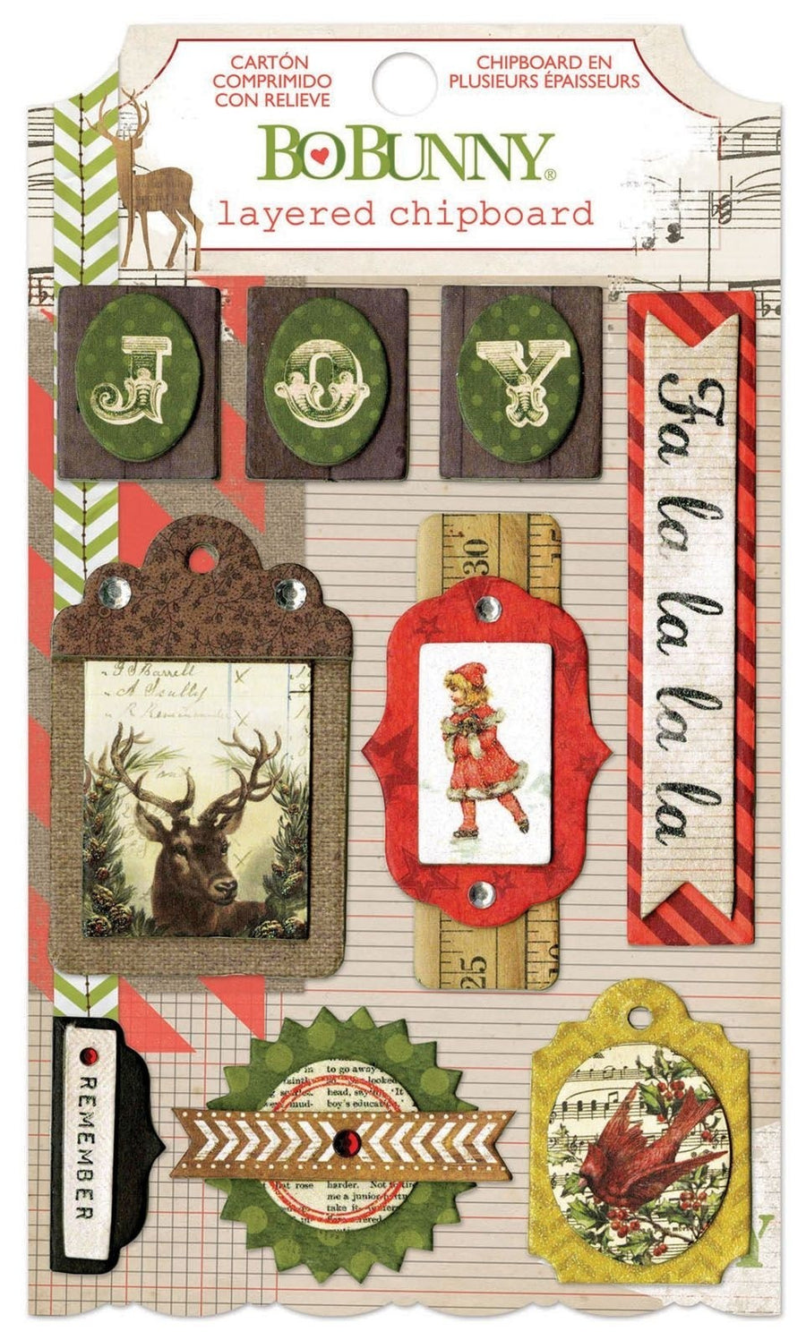 Bo Bunny christmas collage layered chipboard Aufkleber Set