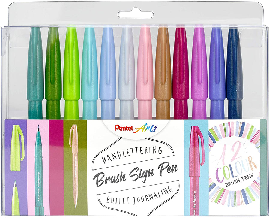 Pentel Sign Pen Brusch -   4 neue Sets, 12er, 4er Sets Nature, Pastel und Berry
