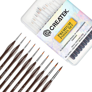 CreaTek - Innovatives Pinselset Malen - 10 Premium Detail Pinsel - Perfekt für Acryl, Aquarell, Modellbau, Warhammer 40k - Paint Brush Set
