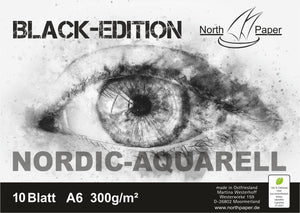 North-Paper Auarellpapier 300g/m²  BLACK-EDITION 10 Blatt Testpapier