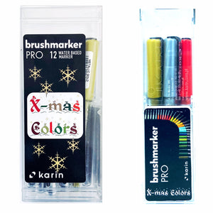 KARIN Brushmarker PRO+DecoBrush  Xmas Color Set 12 Stück mit Ink-Free System