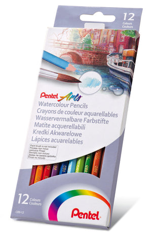 Pentel Arts Watercolor Pencils 12er Set - wasservermalbare Farbstifte