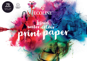Royal Talens ECOLINE - Water Colour Print Paper, DIN A4, 150g, 75 Blatt